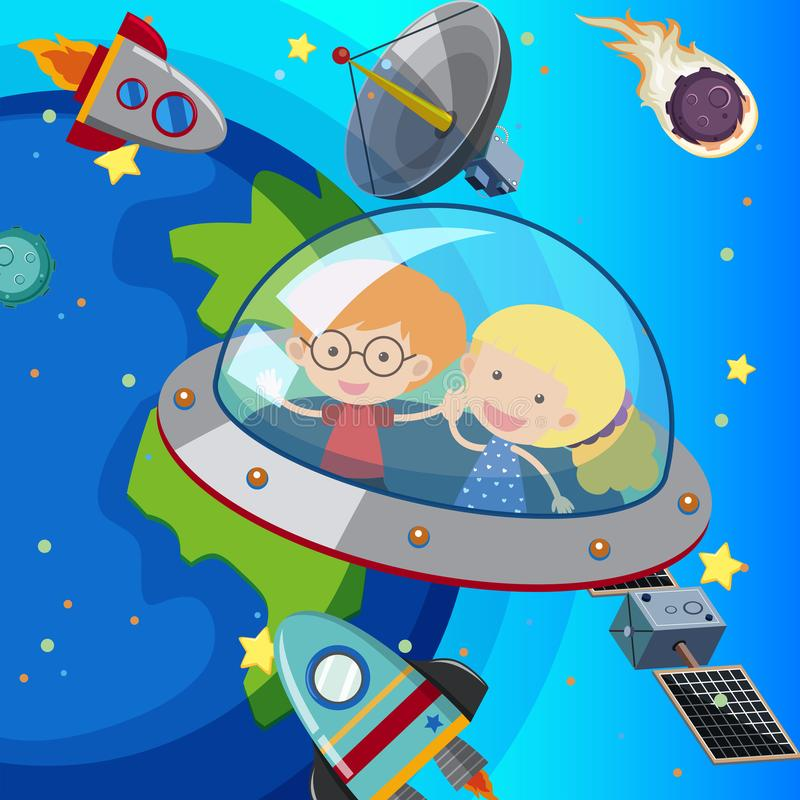 Deux enfants volant dans le vaisseau spatial illustration stock