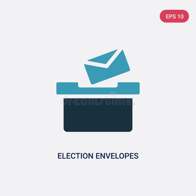 Deux enveloppes d'élection de couleur et icônes de vecteur de boîte de concept politique enveloppes d'élection et signe bleus d'i illustration de vecteur