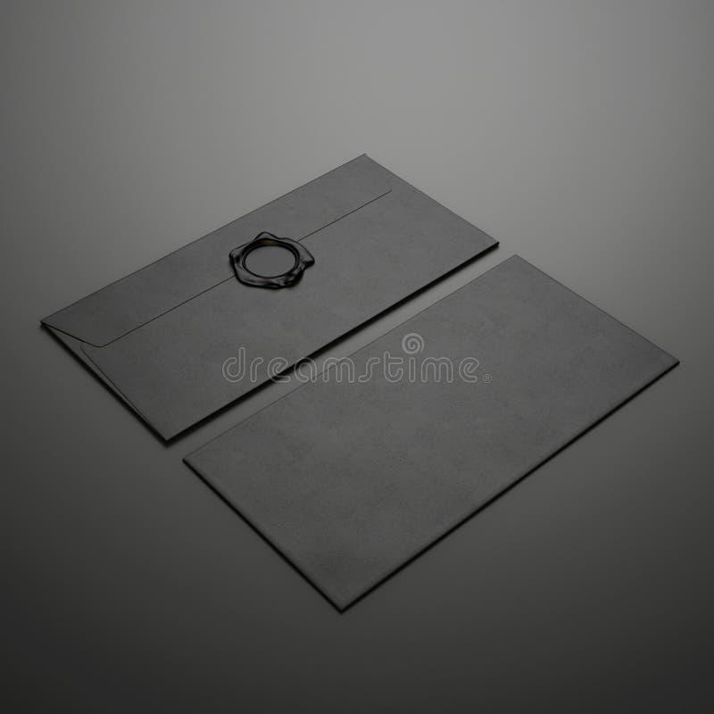 Deux enveloppes noires image libre de droits