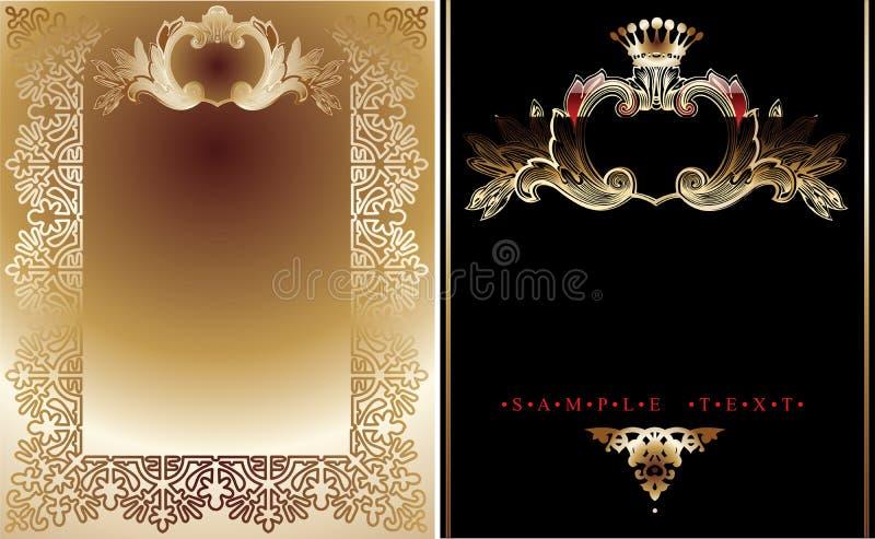 Or deux et milieux royaux noirs illustration stock