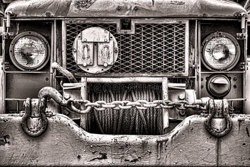 Deux et un demi camion Front Grille de l'armée américaine vieille images stock