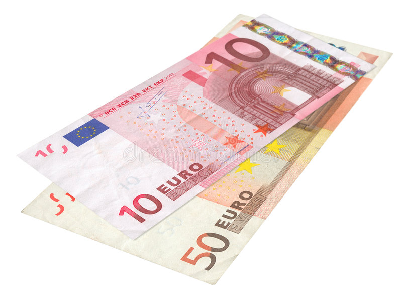 Deux euro billets de banque photographie stock