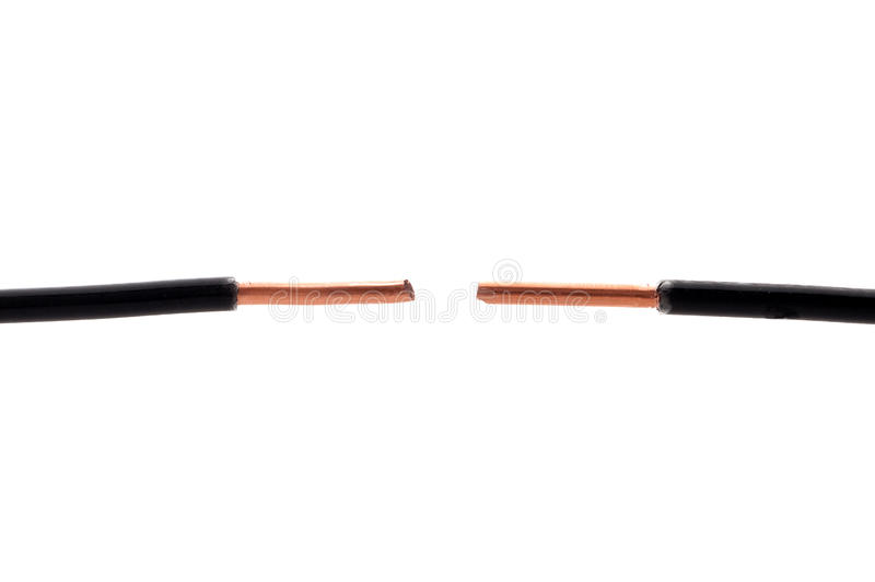Deux extrémités de garniture noire de fil sur le blanc photo libre de droits