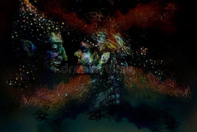 Deux fées dans l'amour devant l'arbre abstrait illustration libre de droits