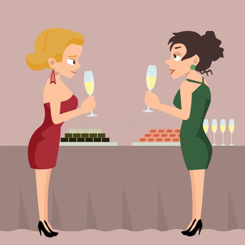 Deux femmes avec des boissons à la bande dessinée parlante de vecteur de réception illustration de vecteur