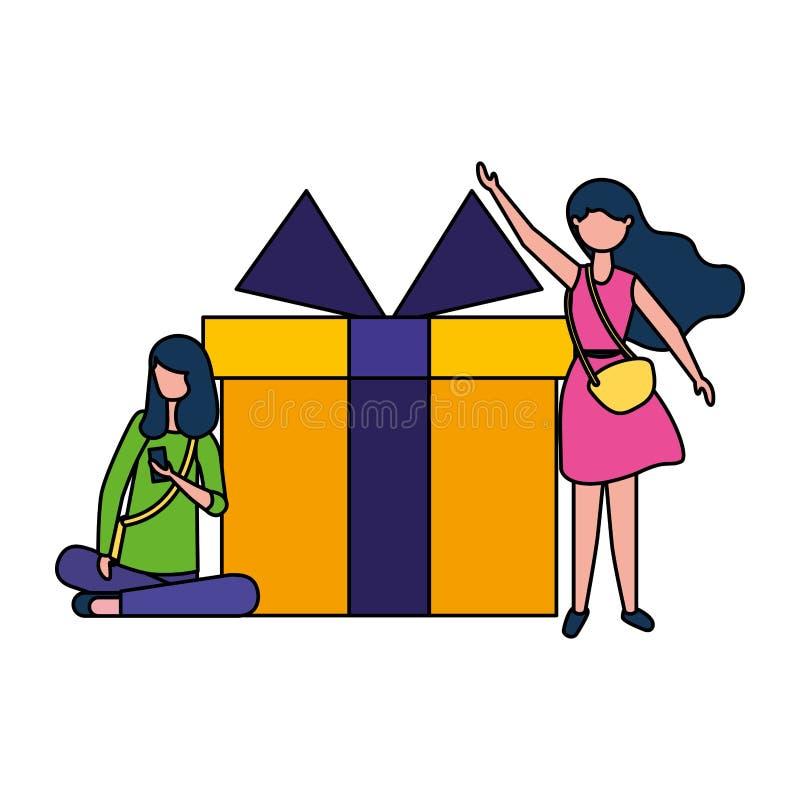 Deux femmes avec grande surprise de cadeau illustration stock