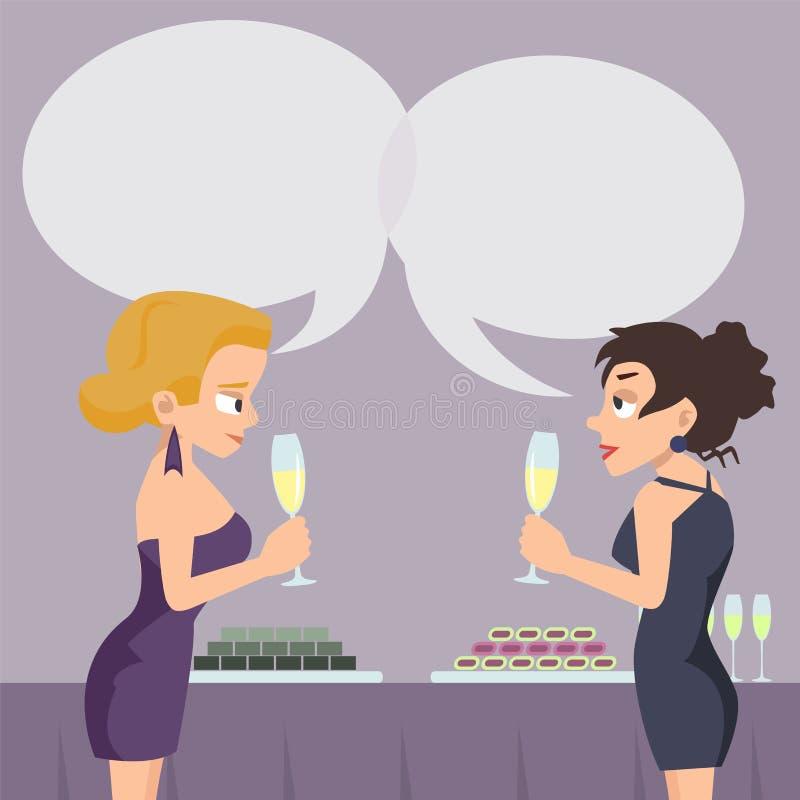 Deux femmes avec la parole bouillonne cartoo parlant et potable de vecteur illustration libre de droits