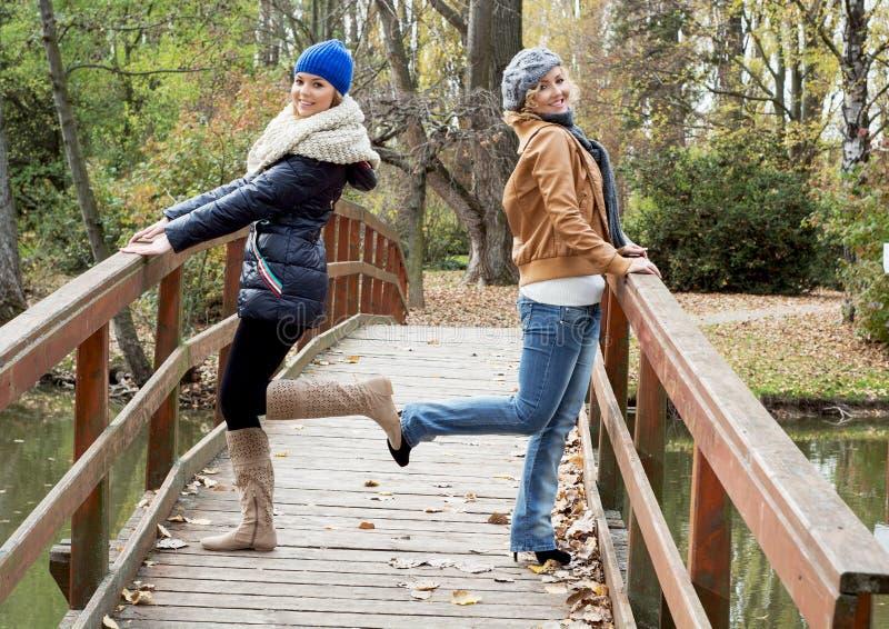 Deux femmes caucasiennes attirantes posant sur un pont en bois photographie stock