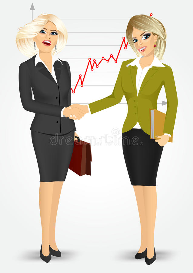 Deux femmes d'affaires blondes se serrant la main illustration stock