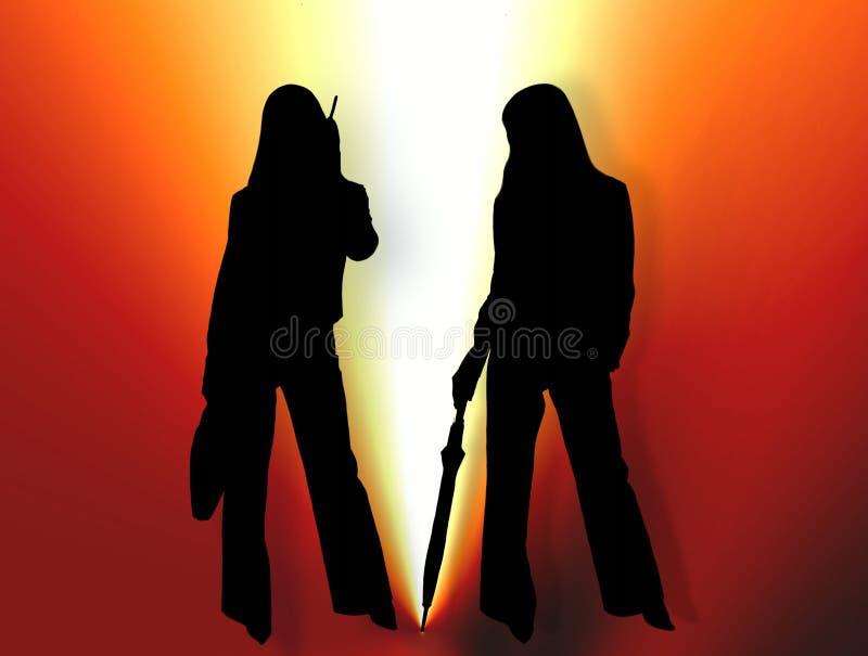 Deux femmes dans la lumière lumineuse illustration libre de droits