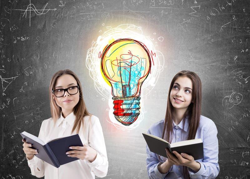 Download Deux Femmes De Lecture Et Une Ampoule Photo stock - Image du lumière, idée: 87700106