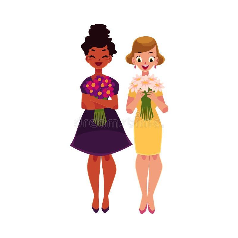Deux femmes, filles, noir et caucasien, tenant des groupes de fleurs illustration de vecteur