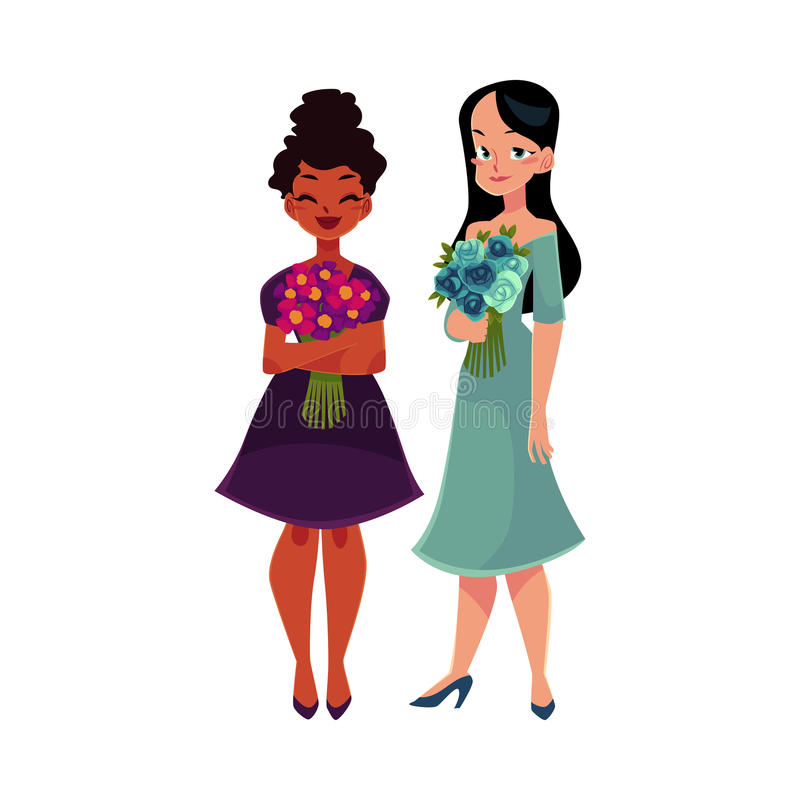 Deux femmes, filles, noir et caucasien, tenant des groupes de fleurs illustration stock