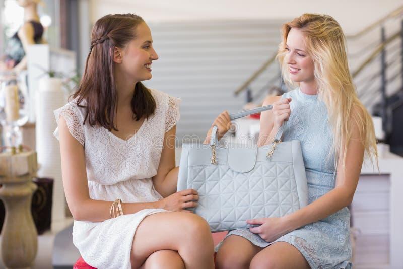 Download Deux Femmes Heureuses Tenant Un Sac à Main Photo stock - Image du parcourir, brunette: 56490914