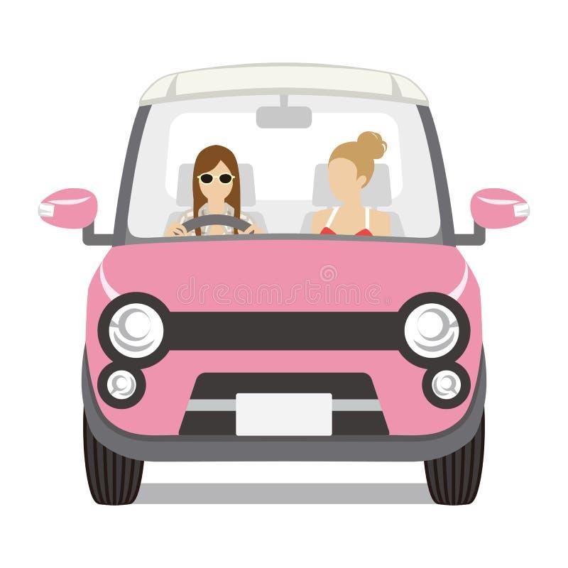 Deux femmes montant la voiture rose, vue de face - d'isolement illustration libre de droits