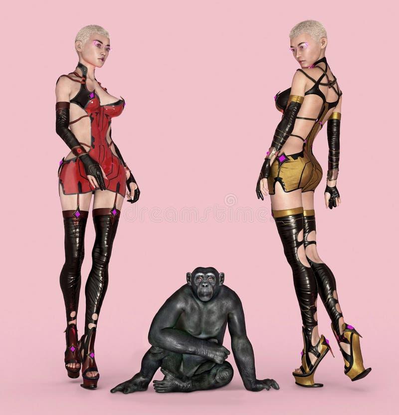 Deux femmes posant dans l'équipement futuriste avec un chimpanzé illustration libre de droits