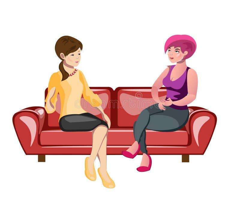 Deux femmes s'asseyant sur un sofa illustration de vecteur
