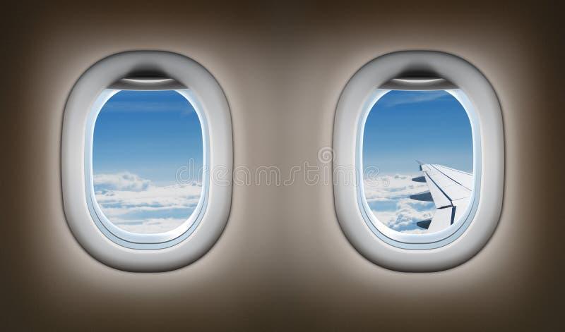 Deux fenêtres d'avion. Intérieur de jet. illustration de vecteur