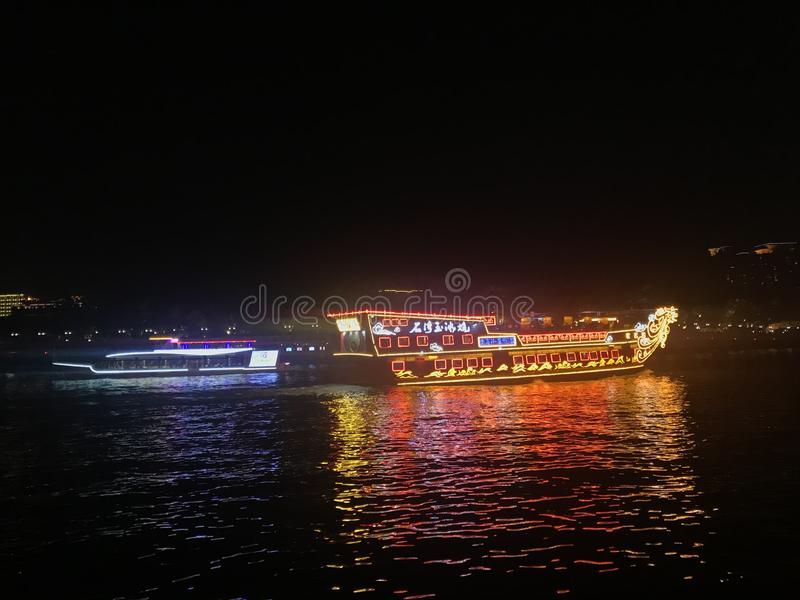 Deux ferries sur Pearl River, Guangzhou, Guangdong, Chine images stock
