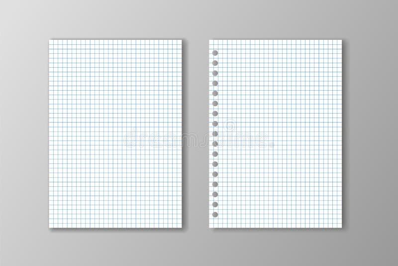 Deux feuilles blanches de papier carré sur le fond gris illustration stock