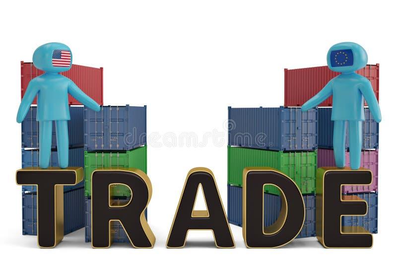 Deux figure les gens sur l'illustration commerciale de lettre et de récipients 3D illustration de vecteur