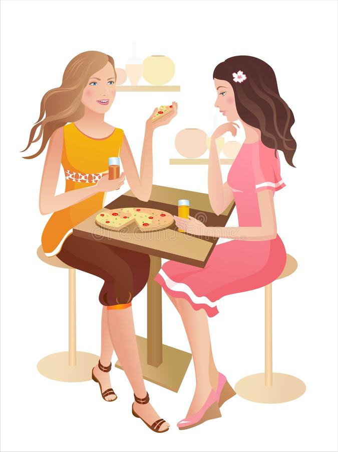 Deux filles à un café illustration libre de droits