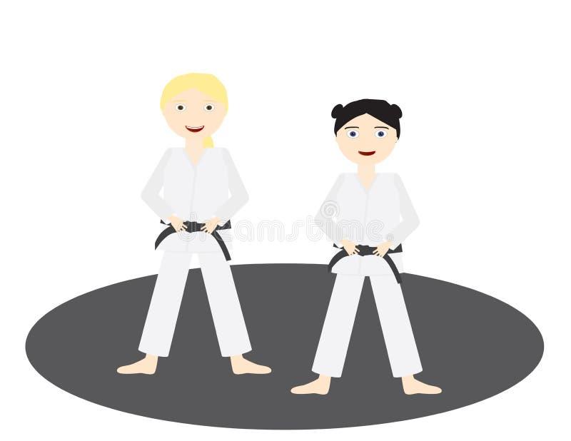 Deux filles avec les uniformes de judo et la ceinture noire se tenant sur un cercle gris illustration stock
