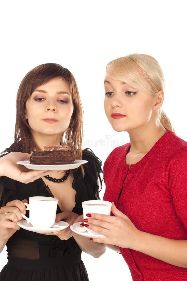 Deux filles buvant du café image libre de droits
