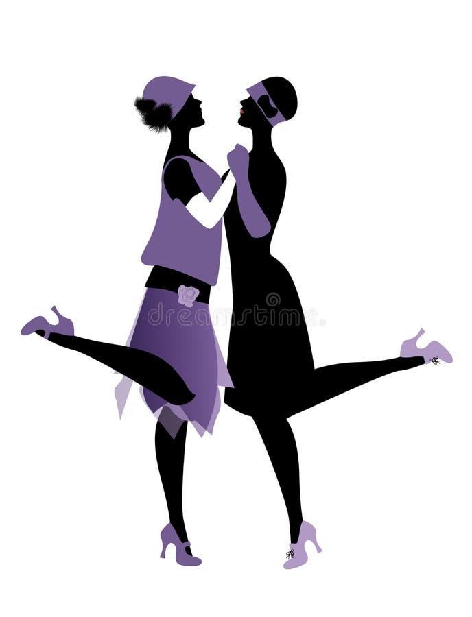 Deux filles d'ailerons portant des vêtements des années 1920 dansant Charleston illustration stock