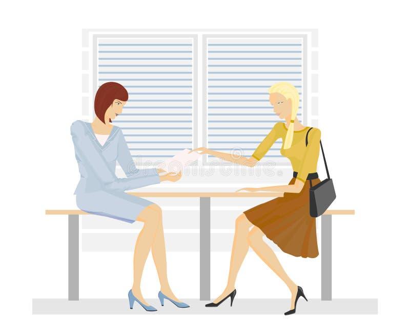 Deux filles dans le bureau illustration stock