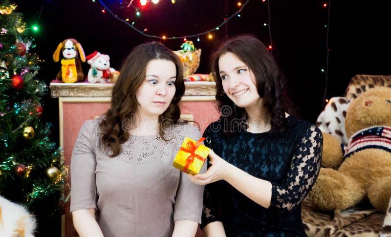 Deux filles dans un arrangement de Noël photographie stock