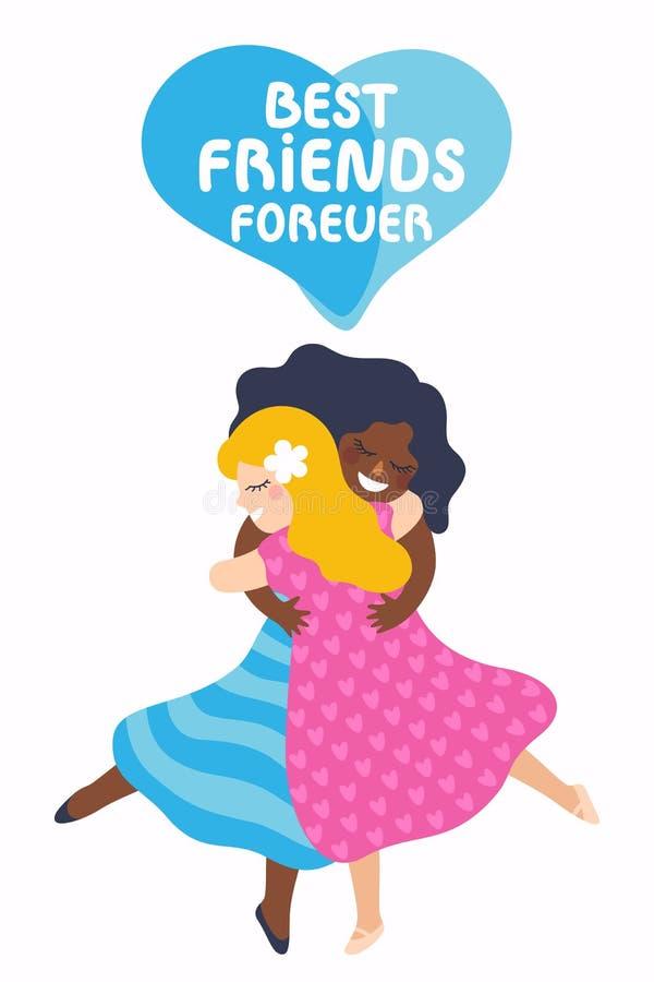 Deux filles de meilleurs amis huging Illustration de vecteur au sujet de l'amitié illustration de vecteur