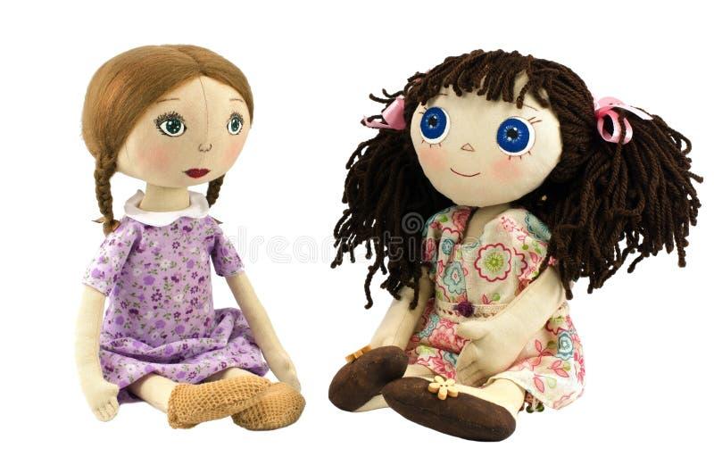Deux filles de poupée de chiffon avec les poils blonds et de front images stock