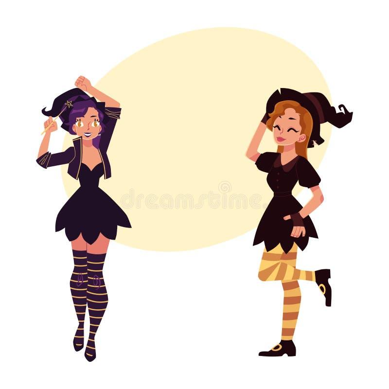 Deux filles, femmes dans des chapeaux aigus, costumes de partie de Halloween de sorcière illustration stock