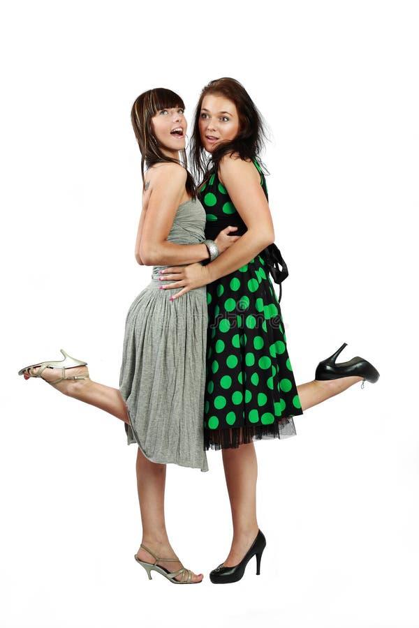 Deux filles heureuses photo stock