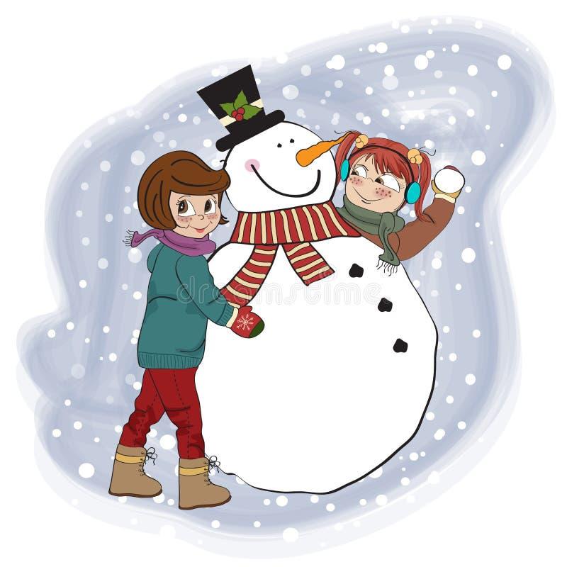 Deux filles heureuses construisant un bonhomme de neige illustration de vecteur