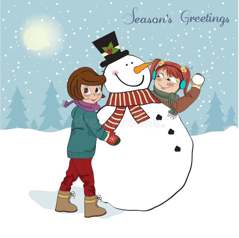 Deux filles heureuses construisant un bonhomme de neige. Illustr de vecteur illustration de vecteur