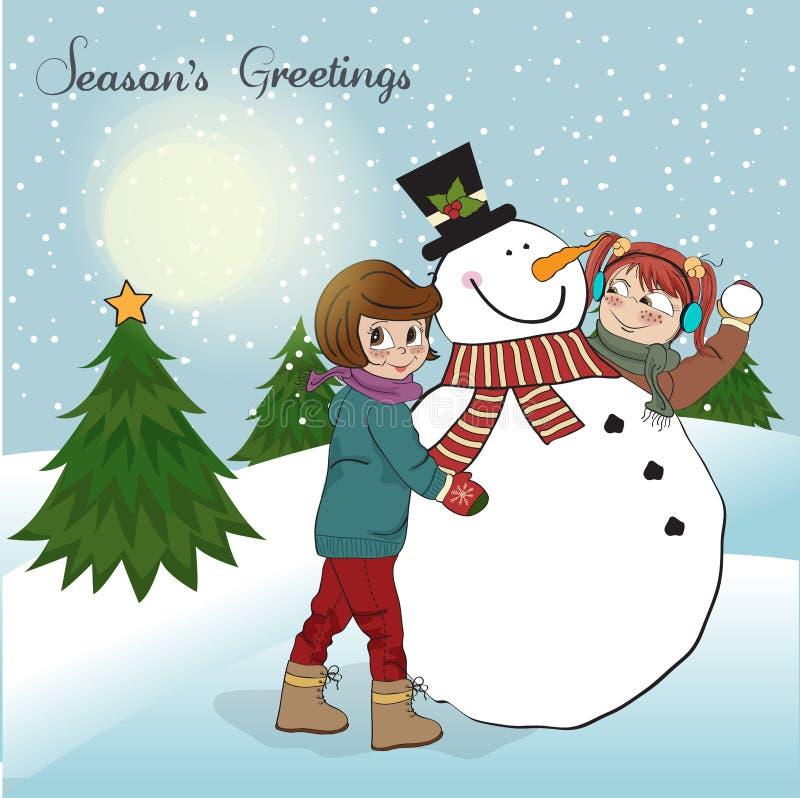 Deux filles heureuses construisant un bonhomme de neige. Illustr de vecteur illustration libre de droits