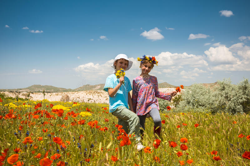 Deux filles heureuses dans le domaine de pavot extérieur photos libres de droits