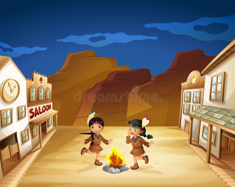 Deux filles indiennes dansant autour du feu illustration stock