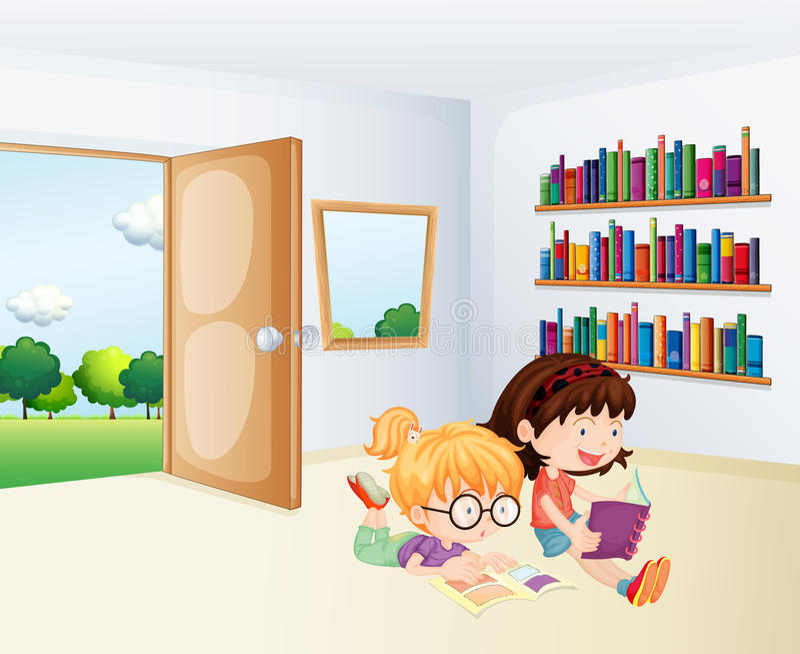 Deux filles lisant à l'intérieur d'une salle illustration stock