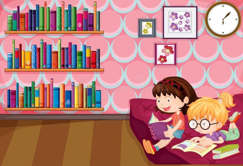 Deux filles lisant à l'intérieur de la maison illustration libre de droits
