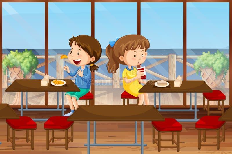 Deux filles mangeant dans la cantine illustration stock