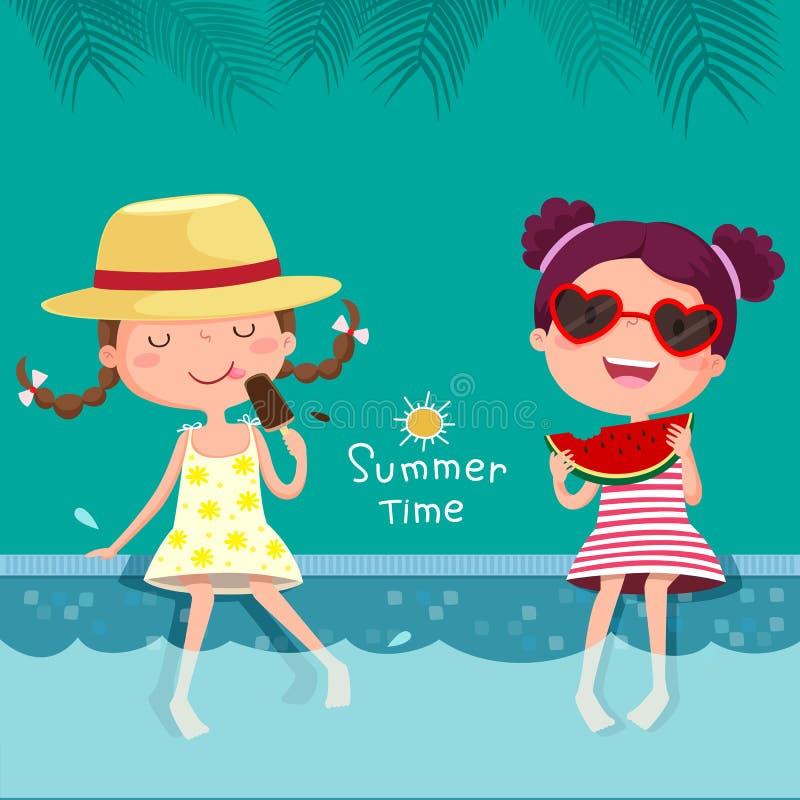 Deux filles mangeant la crème glacée et la pastèque à la piscine illustration stock