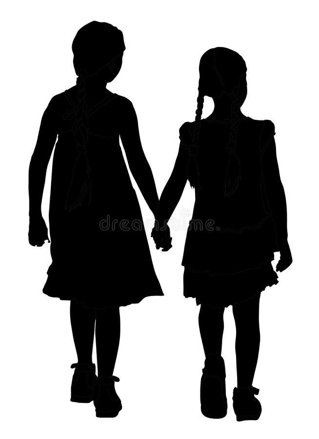 Deux filles marchant et tenant la silhouette de mains illustration libre de droits