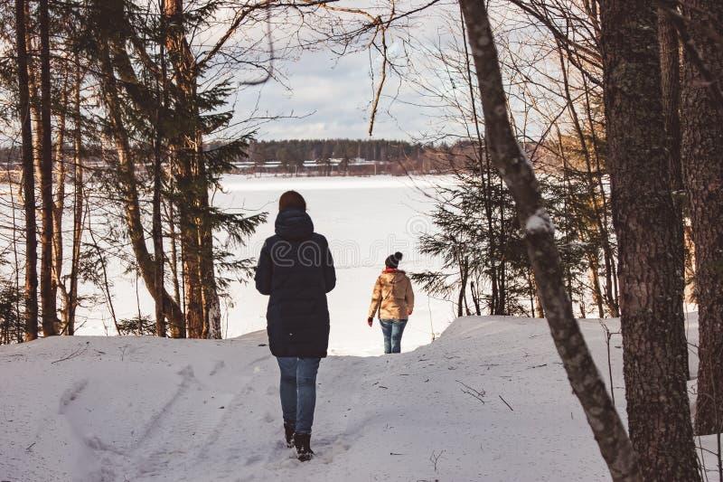 Deux filles marchent par la forêt d'hiver au lac images libres de droits