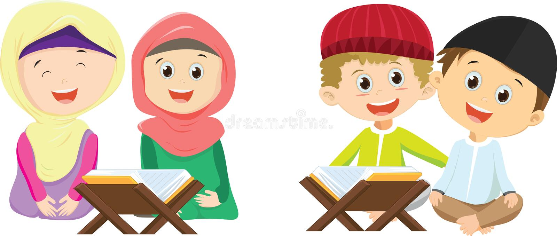 Deux filles musulmanes heureuses lisant le Quran ensemble illustration libre de droits