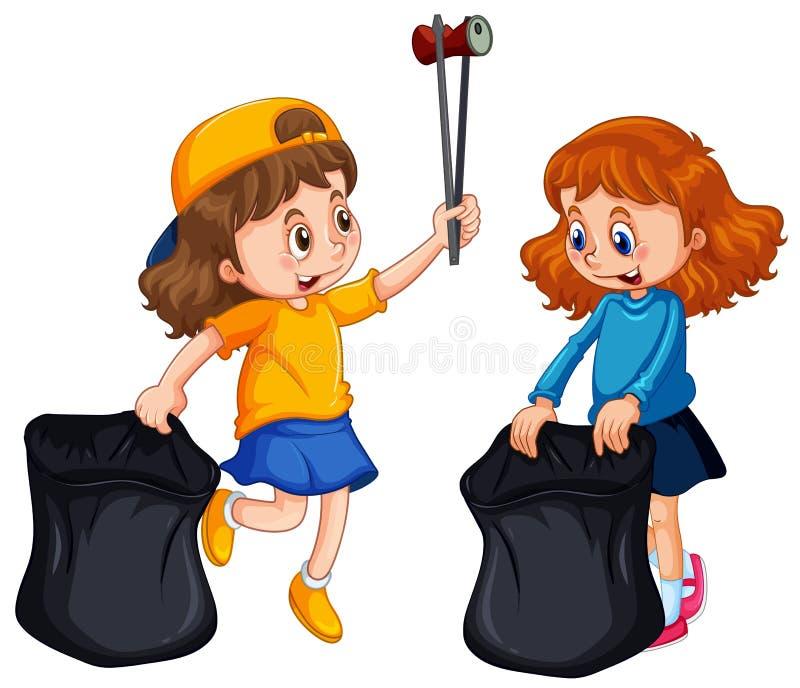 Deux filles prenant des déchets illustration stock