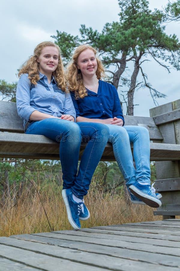Deux filles s'asseyant sur le banc en bois en nature photographie stock libre de droits