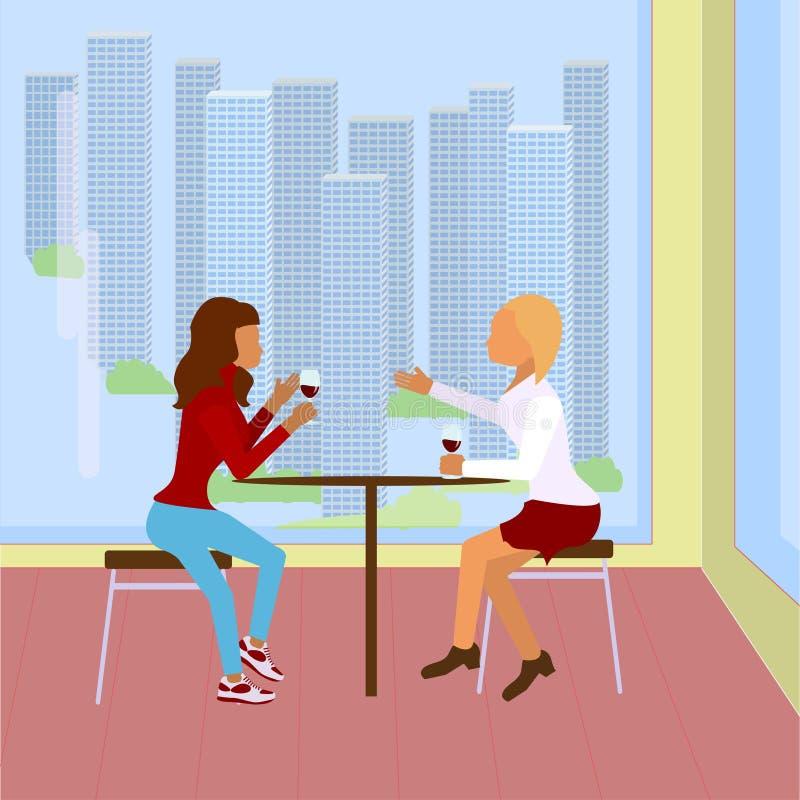 Deux filles s'assied en café de ville illustration de vecteur